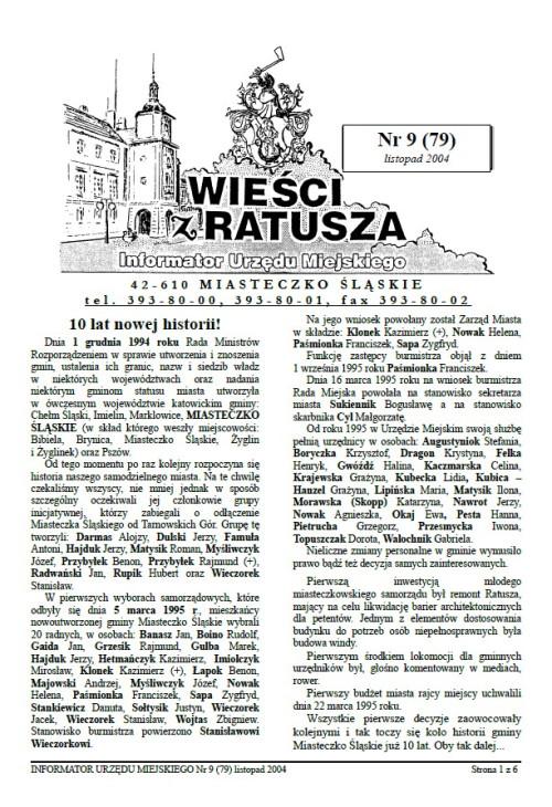 okładka wydania Nr 9 (79) Listopad 2004 gazety Wieści z Ratusza