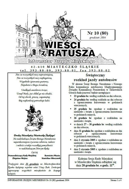 okładka wydania Nr 10 (80) Grudzień 2004 gazety Wieści z Ratusza
