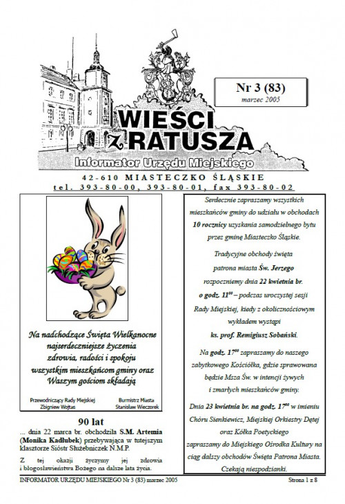 okładka wydania Nr 3 (83) Marzec 2005 gazety Wieści z Ratusza