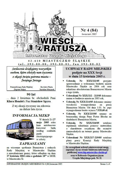 okładka wydania Nr 4 (84) Kwiecień 2005 gazety Wieści z Ratusza