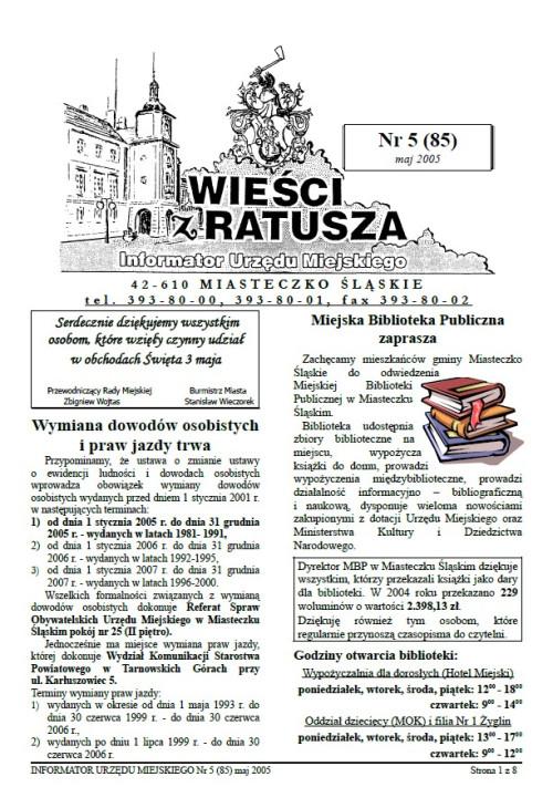 okładka wydania Nr 5 (85) Maj 2005 gazety Wieści z Ratusza