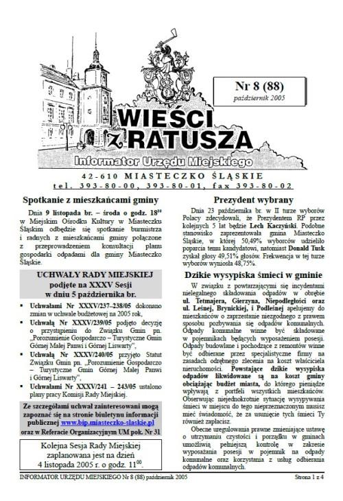 okładka wydania Nr 8 (88) Październik 2005 gazety Wieści z Ratusza