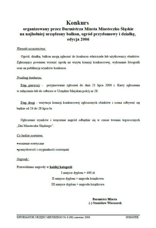 okładka wydania Dodatek - Czerwiec 2006 gazety Wieści z Ratusza