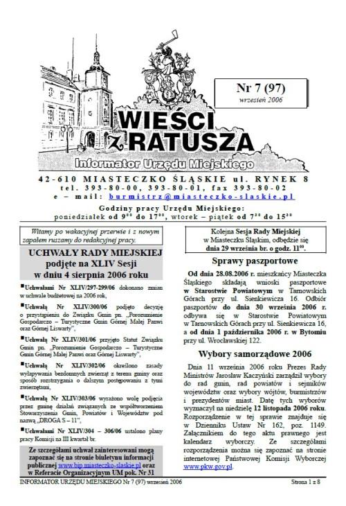 okładka wydania Nr 7 (97) Wrzesień 2006 gazety Wieści z Ratusza