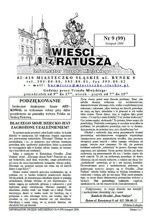 okładka wydania Nr 9 (99) Listopad 2006 gazety Wieści z Ratusza