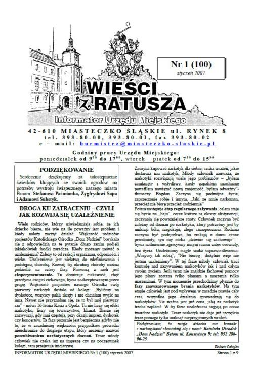 okładka wydania Nr 1 (100) Styczeń 2007 gazety Wieści z Ratusza