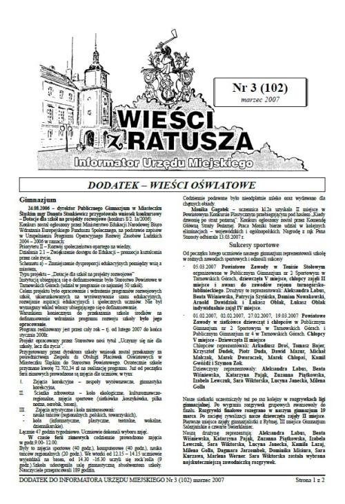 okładka wydania Dodatek - Marzec 2007 gazety Wieści z Ratusza