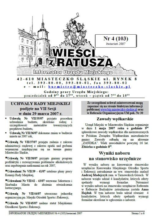 okładka wydania Nr 4 (103) Kwiecień 2007 gazety Wieści z Ratusza