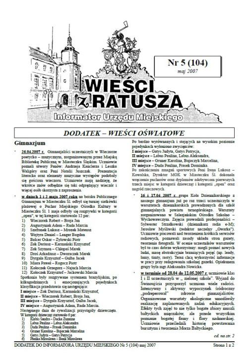 okładka wydania Dodatek - Maj 2007 gazety Wieści z Ratusza