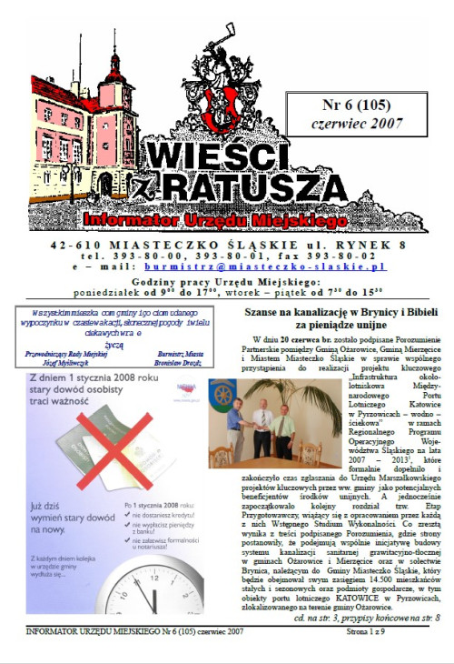 okładka wydania Nr 6 (105) Styczeń 2007 gazety Wieści z Ratusza