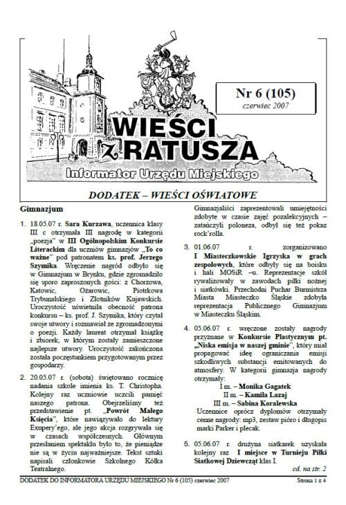 okładka wydania Dodatek - Czerwiec 2007 gazety Wieści z Ratusza