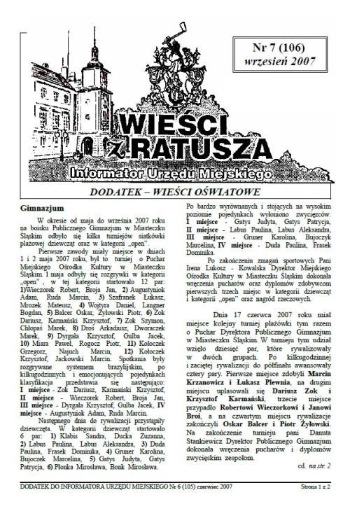 okładka wydania Dodatek - Wrzesień 2007 gazety Wieści z Ratusza