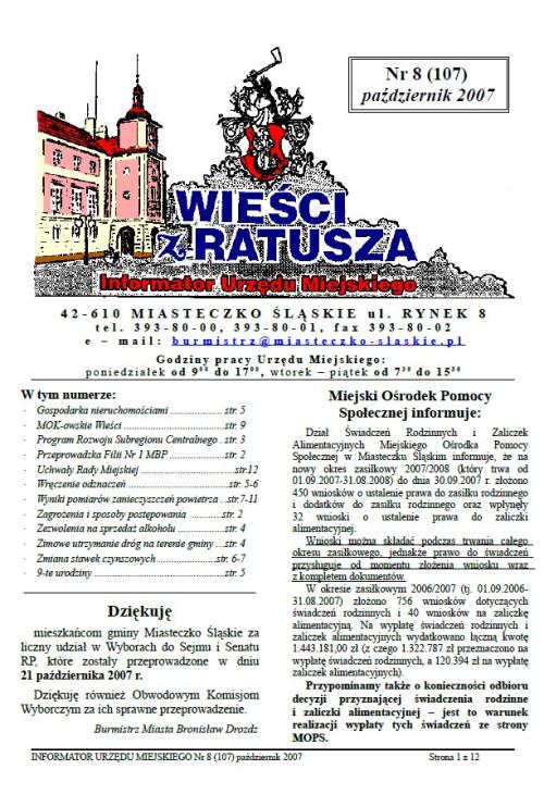 okładka wydania Nr 8 (107) Październik 2007 gazety Wieści z Ratusza