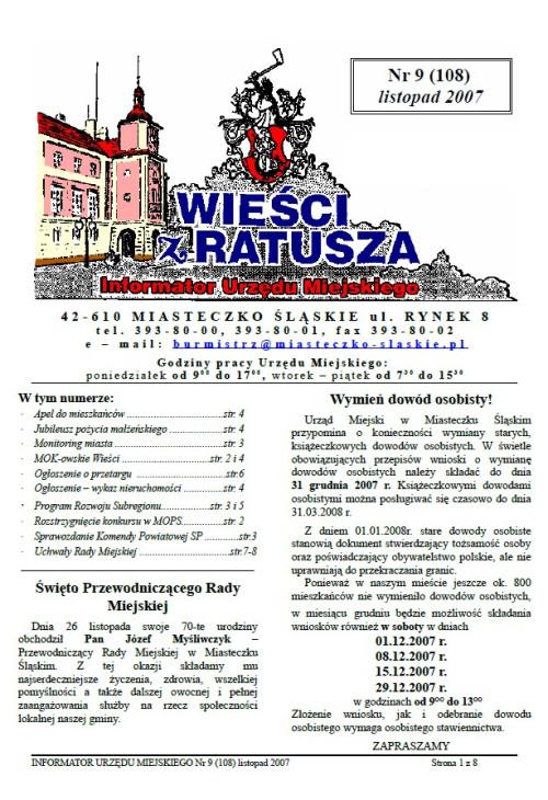 okładka wydania Nr 9 (108) Listopad 2007 gazety Wieści z Ratusza