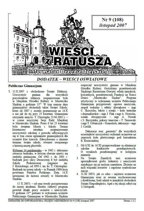 okładka wydania Dodatek - Listopad 2007 gazety Wieści z Ratusza