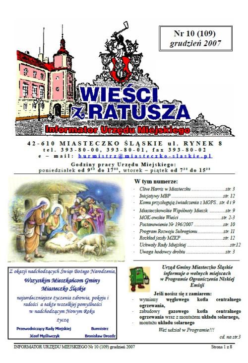 okładka wydania Nr 10 (109) Grudzień 2007 gazety Wieści z Ratusza