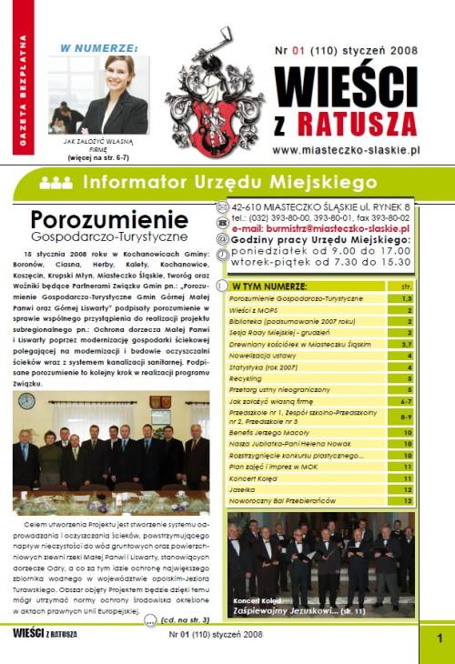 okładka wydania Nr 1 (110) Styczeń 2008 gazety Wieści z Ratusza