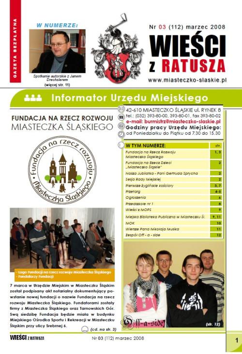okładka wydania Nr 3 (112) Marzec 2008 gazety Wieści z Ratusza