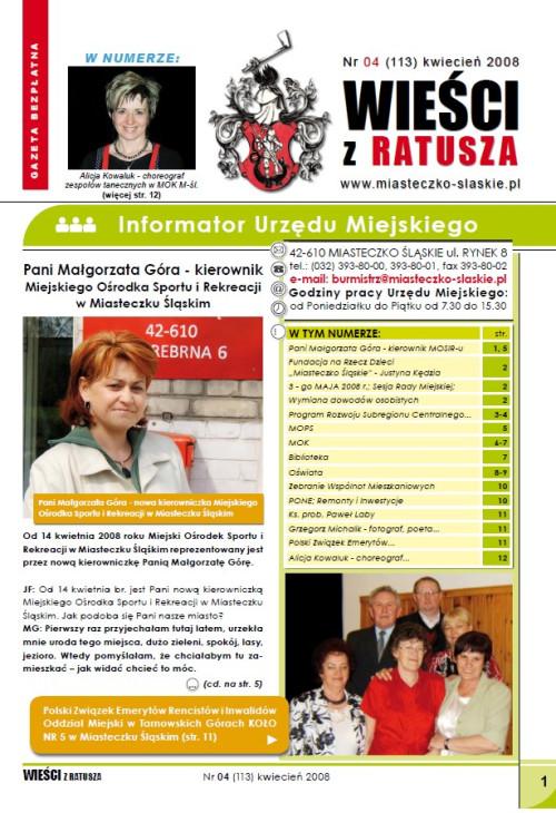 okładka wydania Nr  (113) Kwiecień 2008 gazety Wieści z Ratusza