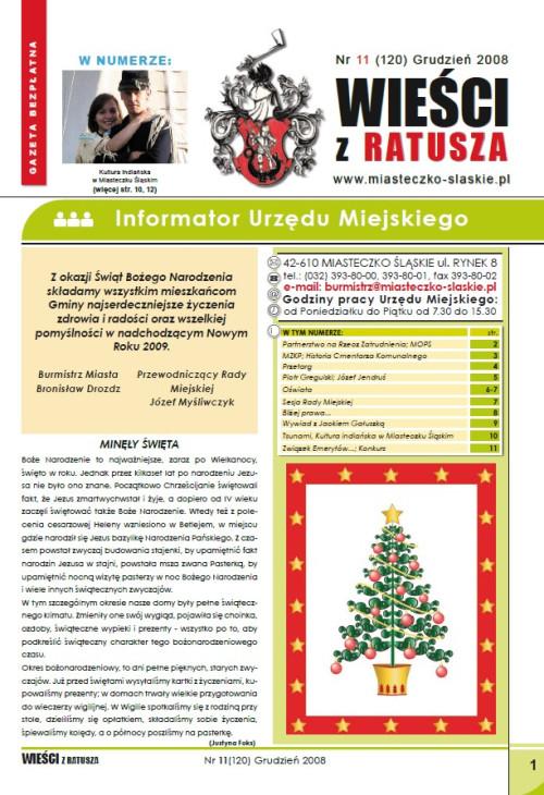 okładka wydania Nr 11 (120) Czerwiec 2008 gazety Wieści z Ratusza