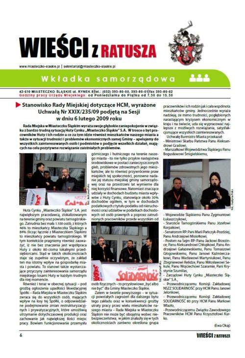 okładka wydania Wkładka samorządowa - Luty 2009 gazety Wieści z Ratusza