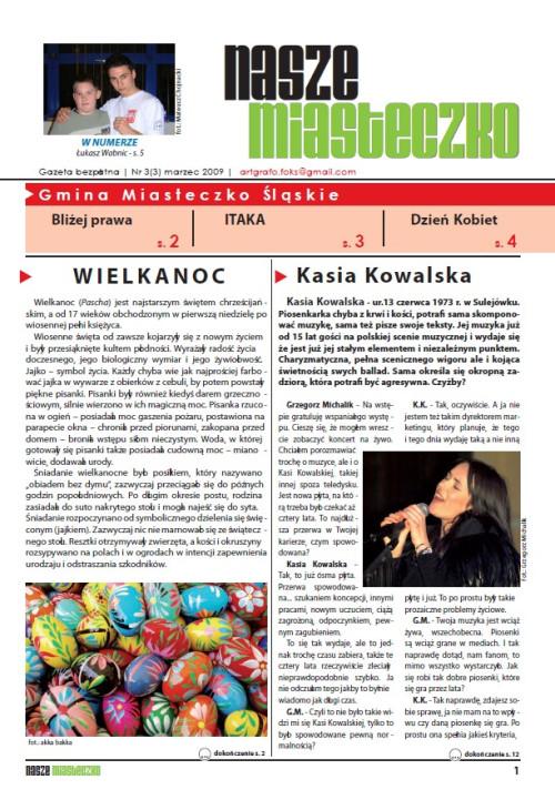 okładka wydania Nr 3 (3) Marzec 2009 gazety Wieści z Ratusza