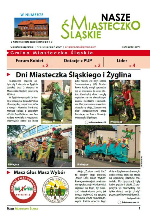 okładka wydania Nr 5 (5) Sierpień 2009 gazety Wieści z Ratusza