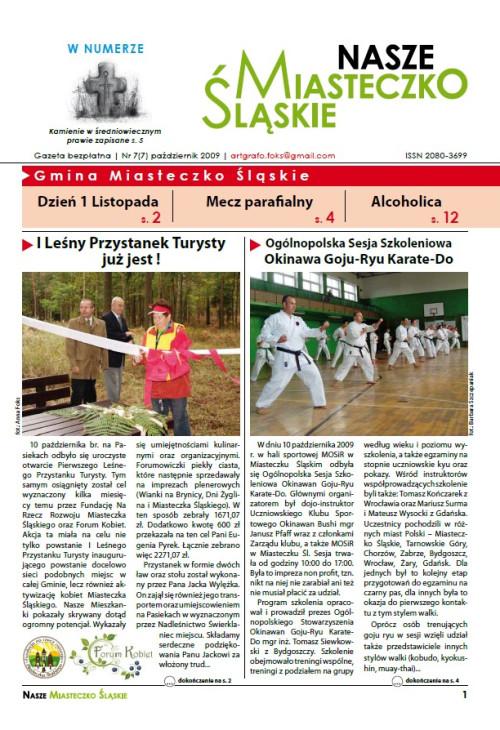 okładka wydania Nr 7 (7) Październik 2009 gazety Wieści z Ratusza
