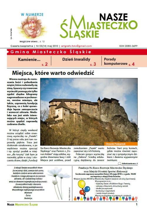 okładka wydania Nr 5 (14) Maj 2010 gazety Wieści z Ratusza