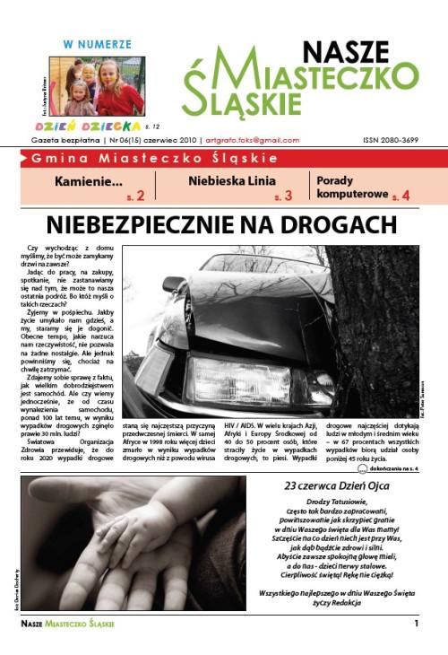 okładka wydania Nr 6 (15) Czerwiec 2010 gazety Wieści z Ratusza