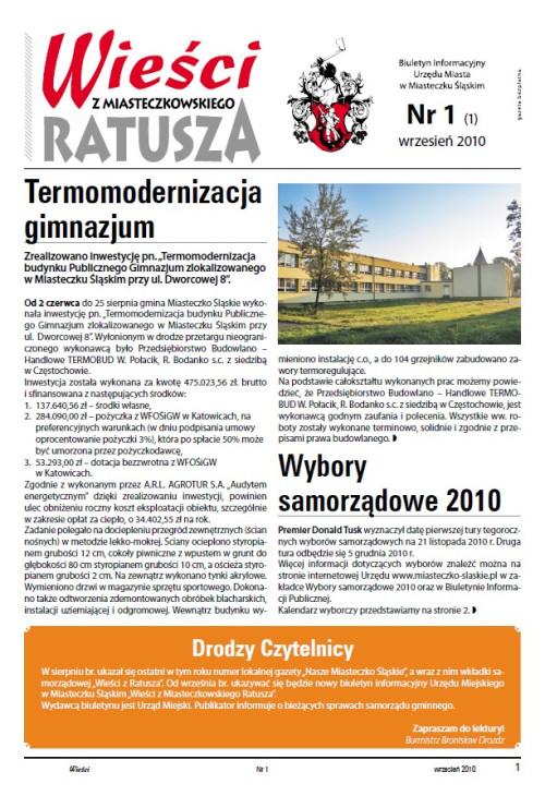 okładka wydania Nr 1 (1) Wrzesień 2010 gazety Wieści z Ratusza