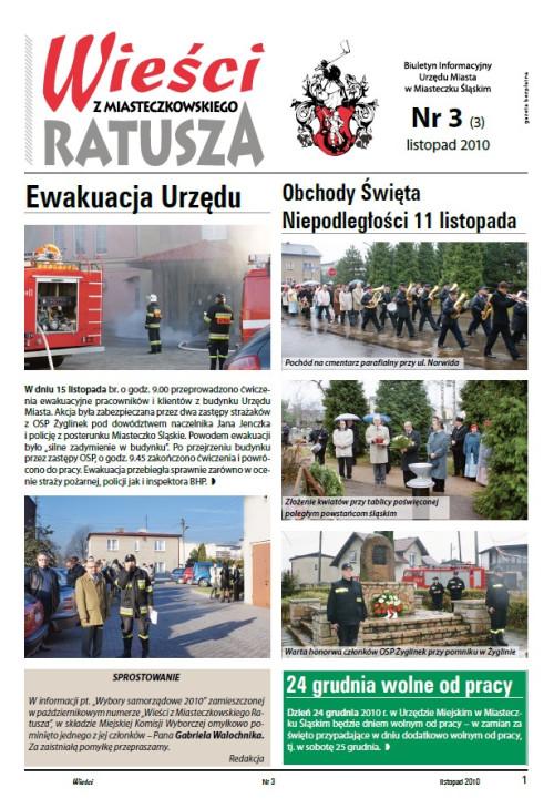 okładka wydania Nr 3 (3) Listopad 2010 gazety Wieści z Ratusza