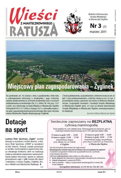 okładka wydania Nr 3 (7) Marzec 2011 gazety Wieści z Ratusza