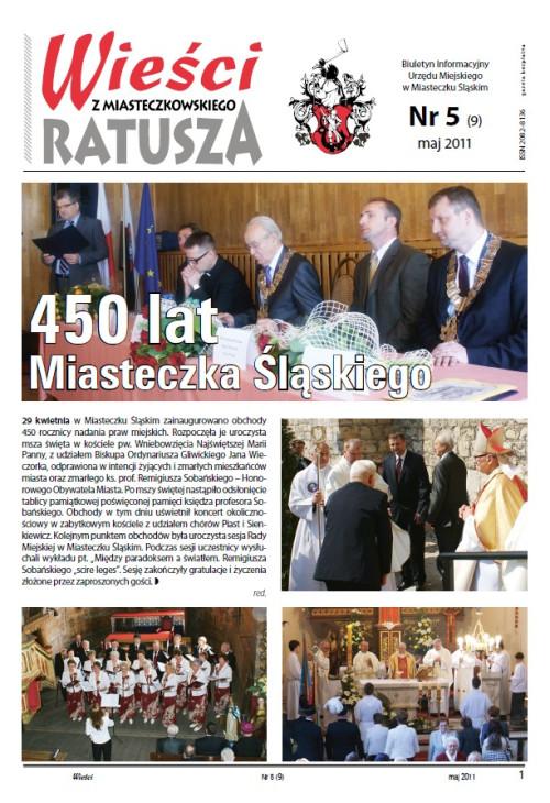 okładka wydania Nr 5 (9) Maj 2011 gazety Wieści z Ratusza