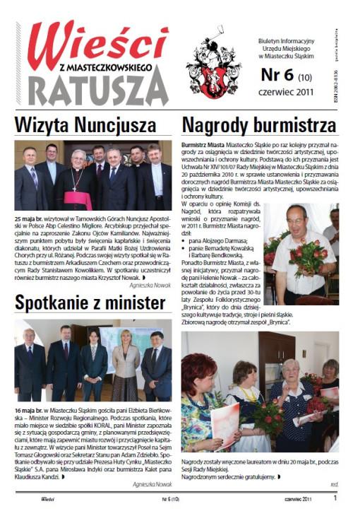 okładka wydania Nr 6 (10) Czerwiec 2011 gazety Wieści z Ratusza