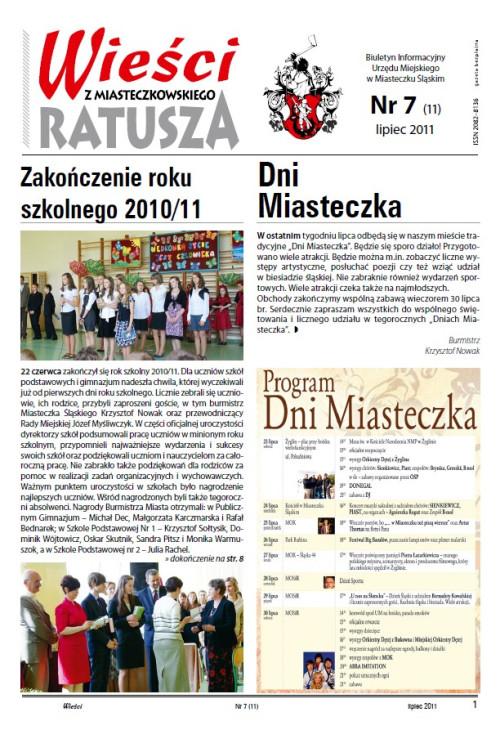 okładka wydania Nr 7 (11) Lipiec 2011 gazety Wieści z Ratusza