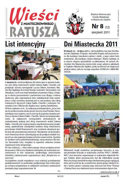 okładka wydania Nr 8 (12) Sierpień 2011 gazety Wieści z Ratusza