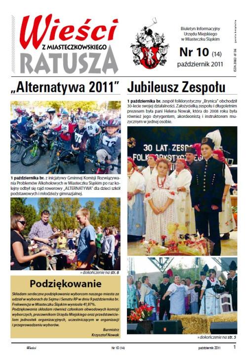 okładka wydania Nr 10 (14) Październik 2011 gazety Wieści z Ratusza
