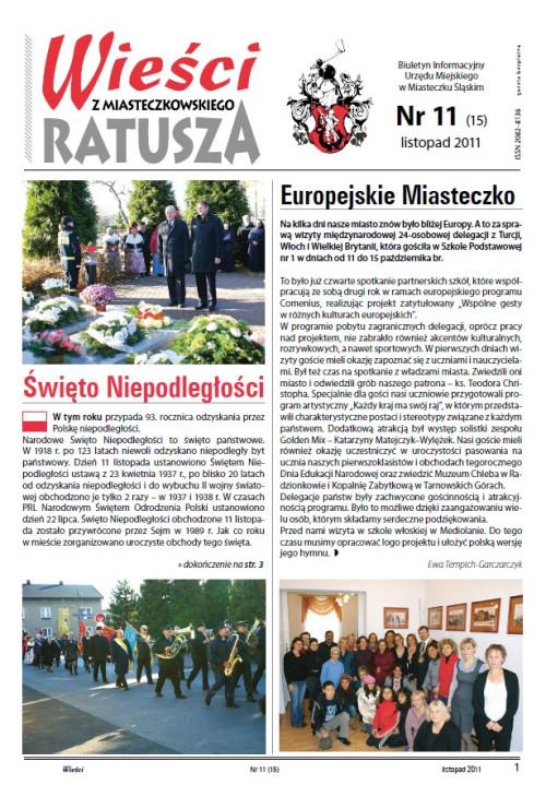 okładka wydania Nr 11 (15) Listopad 2011 gazety Wieści z Ratusza