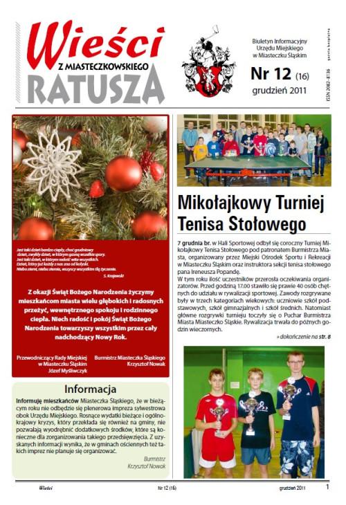 okładka wydania Nr 12 (16) Grudzień 2011 gazety Wieści z Ratusza