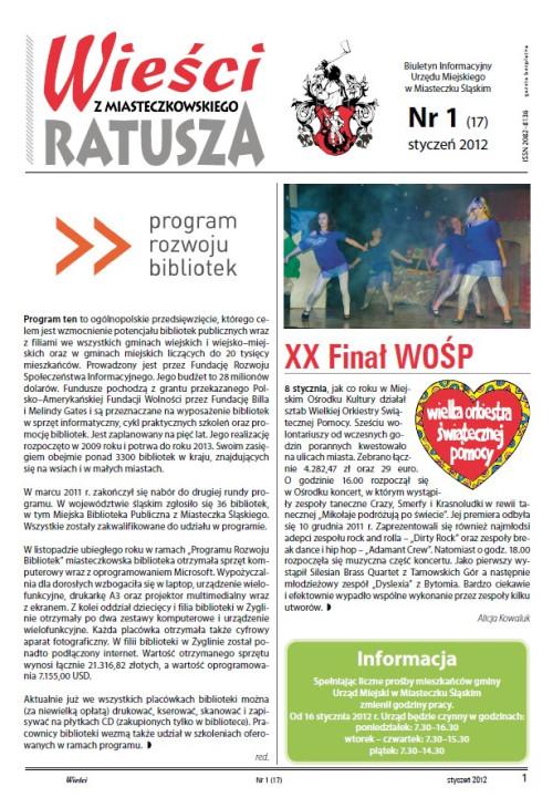 okładka wydania Nr 1 (17) Styczeń 2012 gazety Wieści z Ratusza