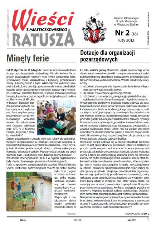 okładka wydania Nr 2 (18) Luty 2012 gazety Wieści z Ratusza
