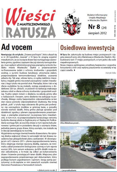 okładka wydania Nr 8 (24) Sierpień 2012 gazety Wieści z Ratusza
