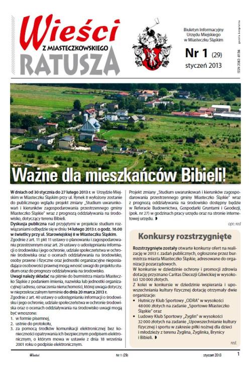 okładka wydania Nr 1 (29) Styczeń 2013 gazety Wieści z Ratusza