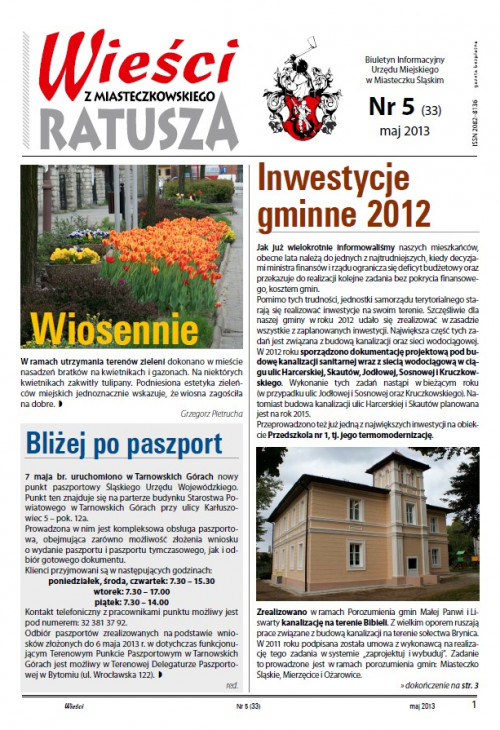 okładka wydania Nr 5 (33) Maj 2013 gazety Wieści z Ratusza