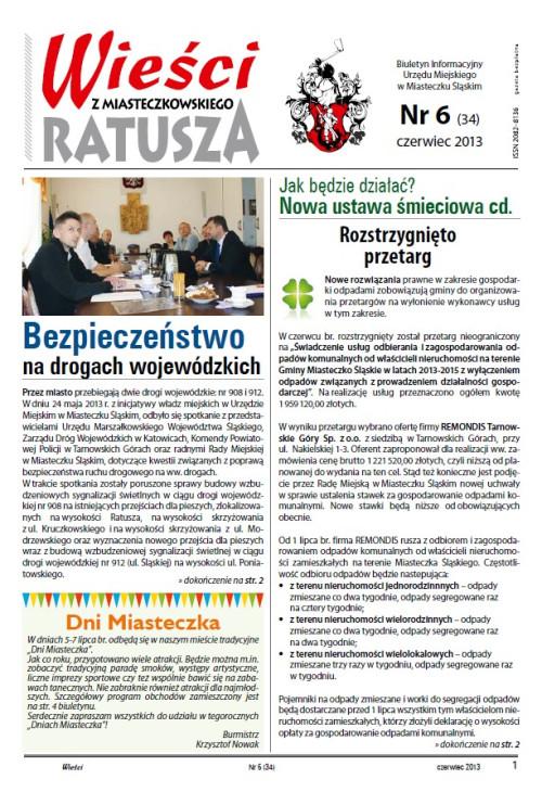 okładka wydania Nr 6 (34) Czerwiec 2013 gazety Wieści z Ratusza