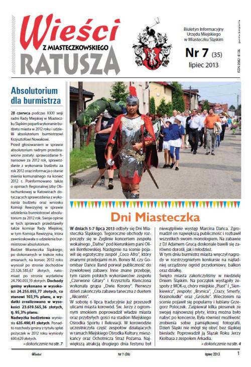 okładka wydania Nr 7 (35) Lipiec 2013 gazety Wieści z Ratusza