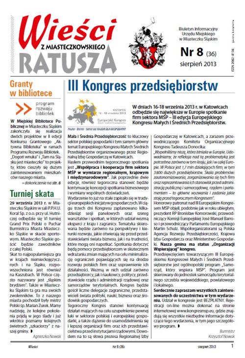 okładka wydania Nr 8 (36) Sierpień 2013 gazety Wieści z Ratusza