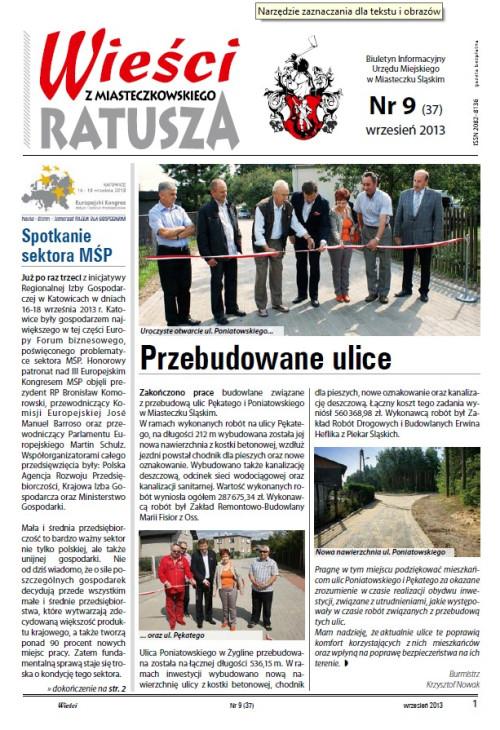 okładka wydania Nr 9 (37) Wrzesień 2013 gazety Wieści z Ratusza