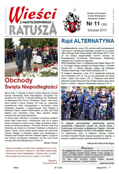 okładka wydania Nr 11 (39) Listopad 2013 gazety Wieści z Ratusza